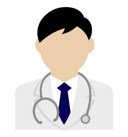 Young male worker avatar flat illustration (upper body)  doctor Ilustração