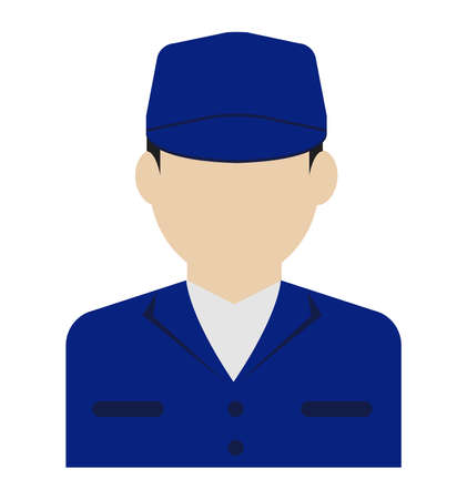 Young male worker avatar flat illustration (upper body) / blue collar worker, factory worker, janitor, service man Standard-Bild - 129348773