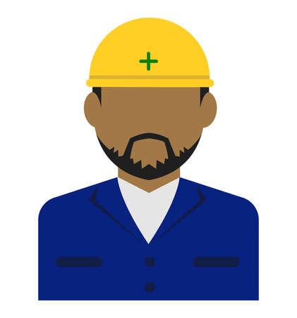 Young male worker avatar flat illustration (upper body) / blue collar worker, factory worker, janitor, service man Standard-Bild - 129348774
