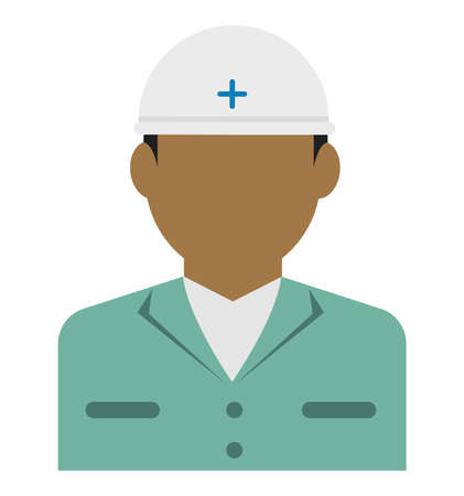 Young male worker avatar flat illustration (upper body)  blue collar worker, rescue worker