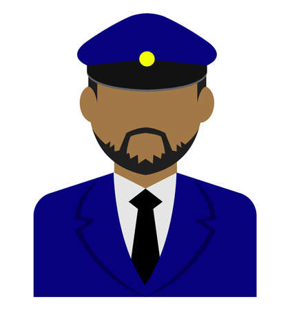 Young male worker avatar flat illustration (upper body) / police man, bus driver Standard-Bild - 129348784