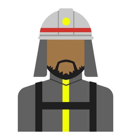 Young male worker avatar flat illustration (upper body)  firefighter, fireman