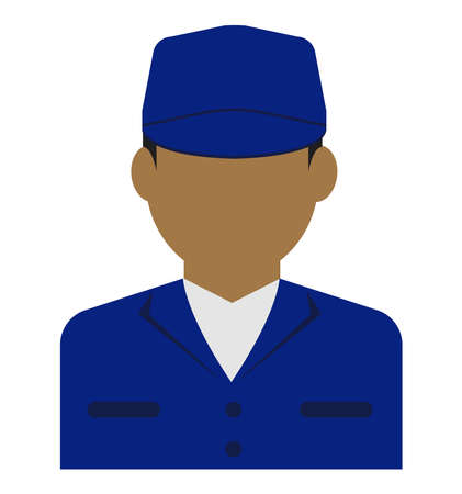 Young male worker avatar flat illustration (upper body)  blue collar worker, factory worker, janitor, service man