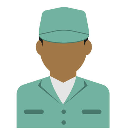 Young male worker avatar flat illustration (upper body) / blue collar worker, factory worker, janitor, service man Standard-Bild - 129348792