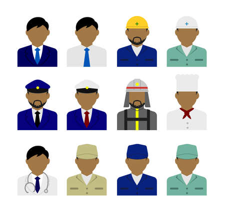 Young male worker avatar flat illustration (upper body) set ( person in a costume ) Ilustração