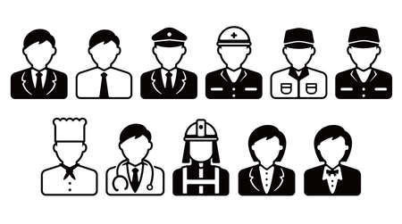 Worker avatar icon illustration set (upper body)  business person, blue collar worker, police man, cook, doctor etc.