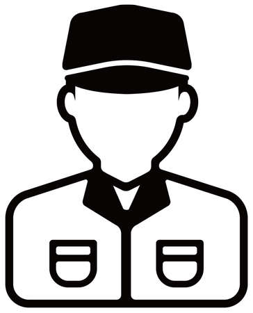 Worker avatar icon illustration Delivery man, postman, service man