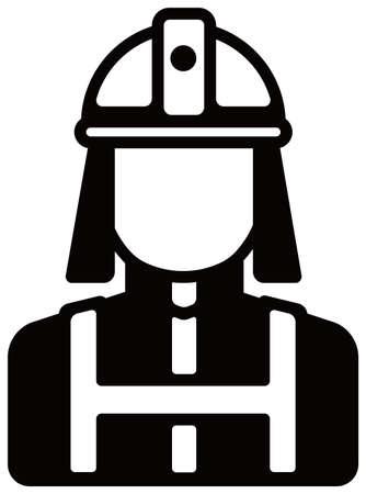 Worker avatar icon illustration (upper body)  firefighter, fireman