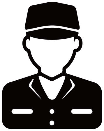 Worker avatar icon illustration (upper body)  blue collar worker, factory worker, janitor, service man