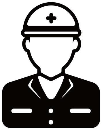 Worker avatar icon illustration (upper body)  blue collar worker, construction worker