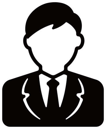 Worker , business man , business person  avatar icon illustration (upper body)