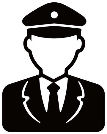 Worker avatar icon illustration (upper body)  police man, bus driver