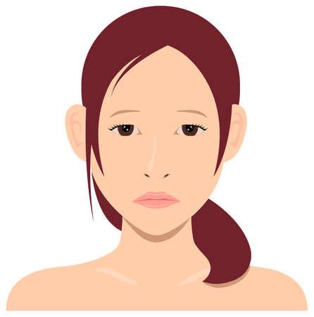 Young asian woman face vector illustration  sad face