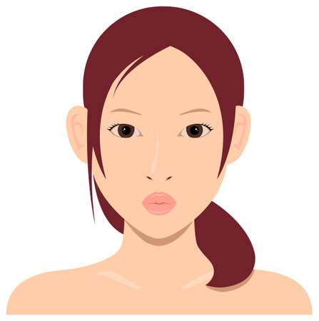 Young asian woman face vector illustration  kiss mouth  イラスト・ベクター素材