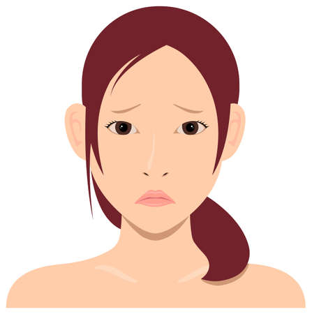 Young asian woman face vector illustration / troubled face, embarrassed face