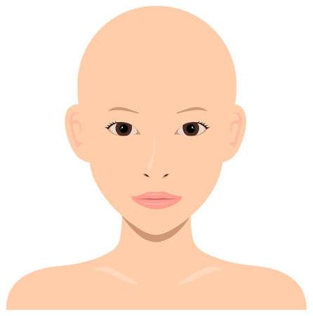 Young asian woman face vector illustration  skin head, no hair Çizim
