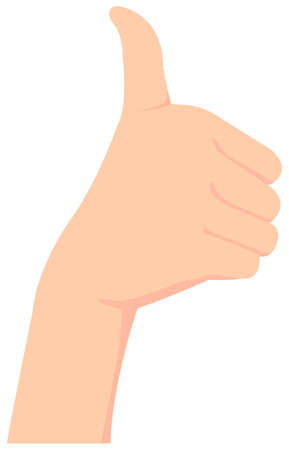 Female hand gesture (hand sign) vector illustration  thumb up