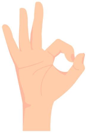 Female hand gesture (hand sign) vector illustration  ok sign 向量圖像
