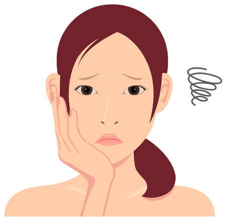 Young asian woman face vector illustration / troubled ,