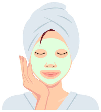 Young asian woman face vector (just out of the bath) / face pack, facial mask