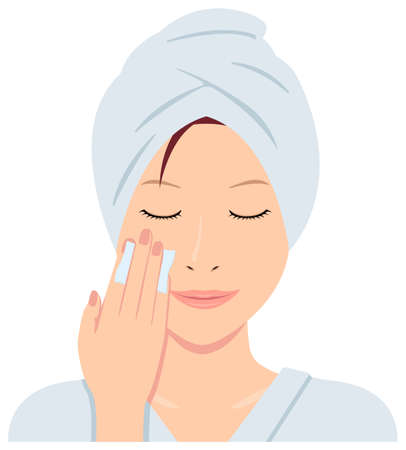 Young asian woman face vector (just out of the bath)  cotton, makeup removal
