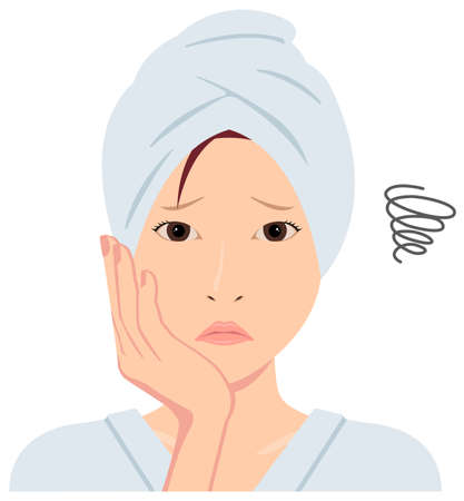 Young asian woman face vector (just out of the bath) / troubled ,