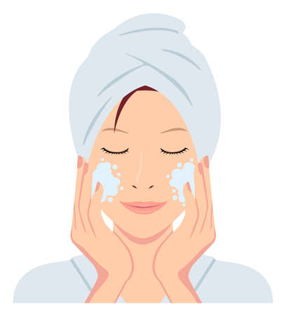 Young asian woman face vector (just out of the bath)  cleansing, makeup removal Ilustrace