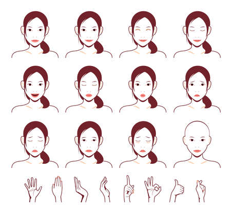 Young asian ladys face vector illustration set  emotional face pattern (with hand illustration set) 일러스트
