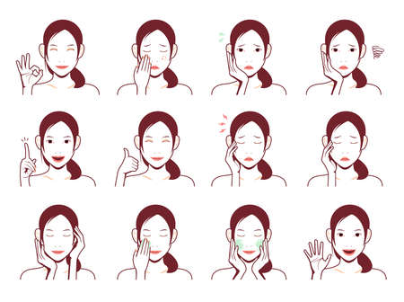 Young asian woman face vector illustration set / smile, troubled, acne, headache, cleansing, thumb up, ok sign etc. Foto de archivo - 129551337