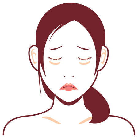 Young asian woman face vector illustration / dark circles, lack of sleep Stok Fotoğraf - 130303833