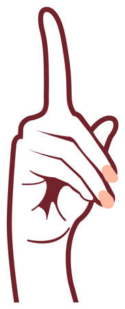 Female hand gesture (hand sign) vector illustration  pointer, idea, inspiration Illusztráció