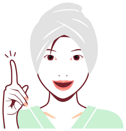 Young asian woman face vector (just out of the bath)  idea,inspiration, point