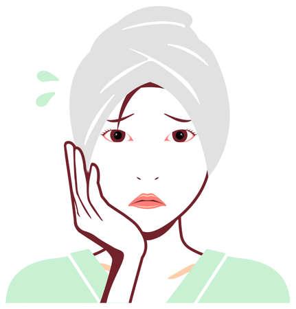 Vector de rostro de mujer asiática joven (recién salido del baño) / preocupado,
