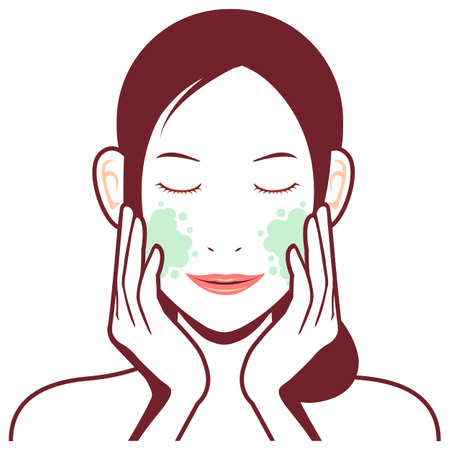 Young asian woman face vector illustration  cleansing, makeup removal Ilustrace