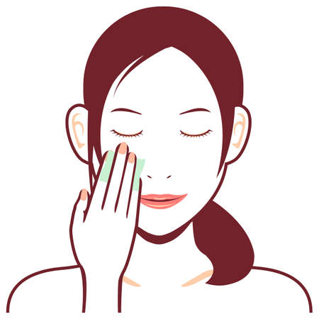 Young asian woman face vector illustration  cotton, makeup removal