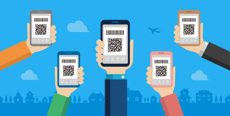 QR code payment, smartphone payment vector banner illustration