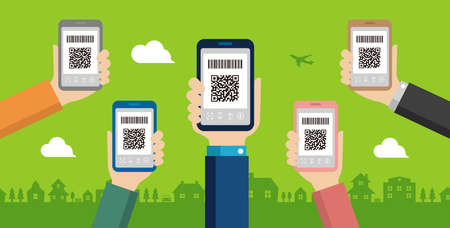 QR code payment, smartphone payment vector banner illustration Banque d'images - 129551605