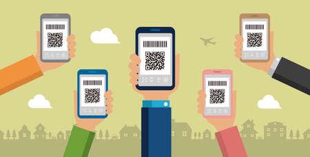QR code payment, smartphone payment vector banner illustration Banque d'images - 129551638