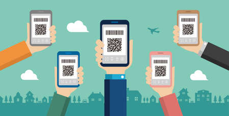 QR code payment, smartphone payment vector banner illustration Banque d'images - 129551624