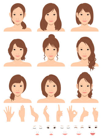 Young woman vector illustration set / hair style variation / hand gesture and emotional face pattern set Stok Fotoğraf - 130303846
