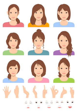 Young woman vector illustration set / hair style variation / hand gesture and emotional face pattern set Stok Fotoğraf - 130303844
