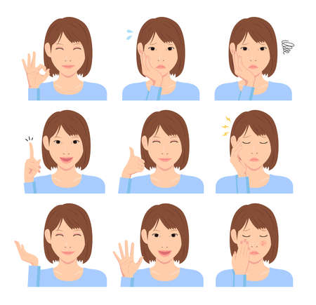 Young woman vector illustration set / hand gesture and emotional face variation. Stok Fotoğraf - 130303847