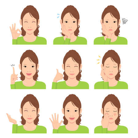 Young woman vector illustration set / hand gesture and emotional face variation. Stok Fotoğraf - 131001831