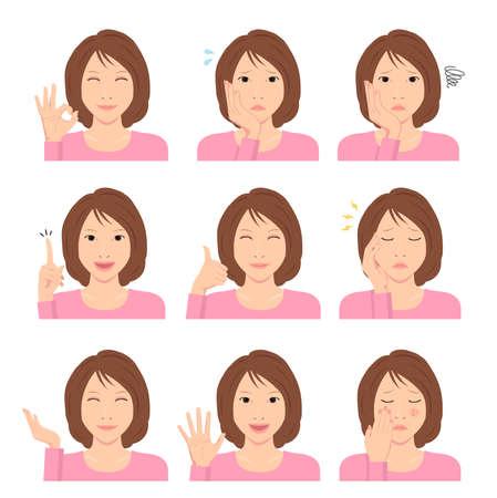 Młoda kobieta wektor zestaw ilustracji / gest ręki i emocjonalna zmienność twarzy.