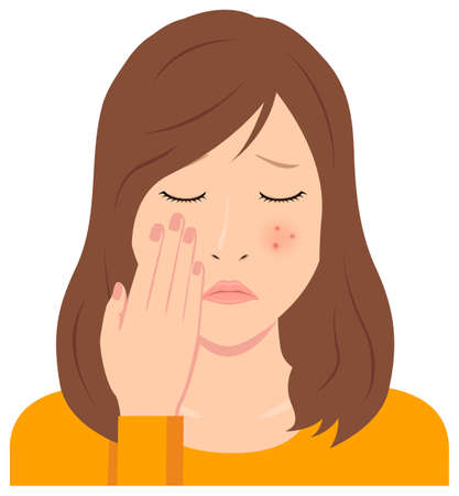 Young woman vector illustration (upper body) / acne, pimple, treckles, rash 일러스트