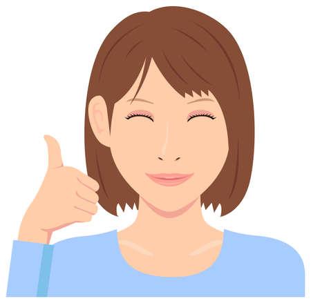 Ilustración de vector de mujer joven (parte superior del cuerpo) / pulgar hacia arriba con una sonrisa Ilustración de vector
