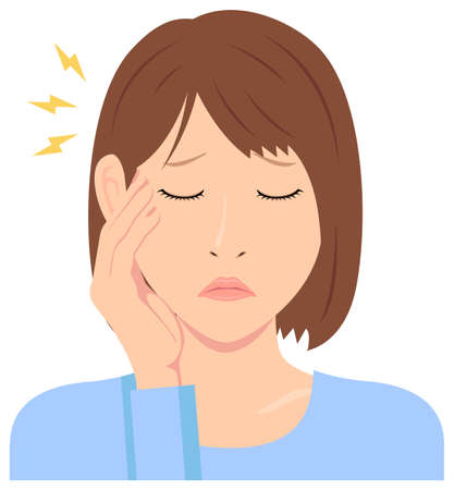 Young woman vector illustration (upper body)  headache, migrane