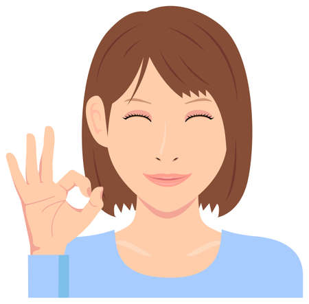 Young woman vector illustration (upper body)  ok sign with smiling