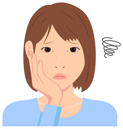 Young woman vector illustration (upper body)  depression, trouble, troubled, disappointed
