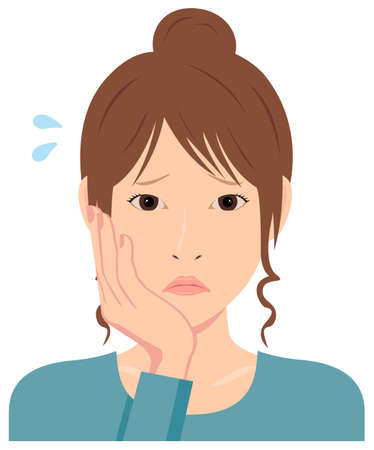 Young woman vector illustration (upper body) / depression, trouble, troubled, disappointed Illustration